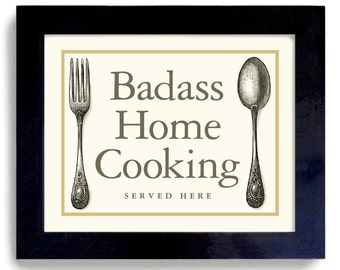 Kitchen Wall Art Decor Gift Home Cooking Quote Loves to Cook Fun Kitchen Art Print Chef Art Best Cook Fork and Spoon Dex Mex Vintage Style