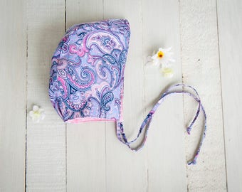 Modern Bonnet, Baby Bonnet, Baby Shower, Paisley, 12-18 Month, Pink Reversible Bonnet, Upcycled, Photo Prop, ReInvintage Treasures, Handmade