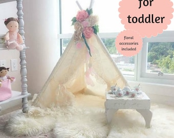 teepee, teepee with lace, teepee tent, toddler teepee, teepee with flowers