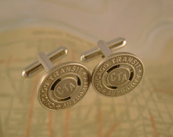 Chicago Transit Authority - Vintage Authentic Chicago CTA Transit Subway Token Cufflinks, Man Gift, Wedding, Groomsman Gift