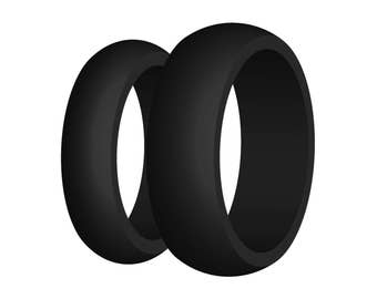 His & Hers Black Silicone Wedding Ring Set US Made Hypoallergenic Athletic Active Mens Womens - Perfect Fit Guarantee - No Cheap Branding