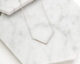 Gold Chevron Necklace, Chevron Necklace, 14K Solid Gold Necklace, Chevron Pendant, Gift for Her, Dainty Necklace, Minimal Gold Necklace