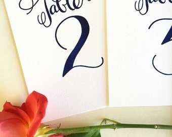 Wedding Table Numbers Navy, Calligraphy Table Numbers, Wedding Table Markers, Navy Table Numbers, Elegant Table Numbers Royal Blue, Wedding
