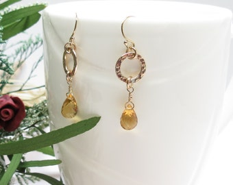 Citrine Earrings, November Birthstone, Yellow Gemstone, Bridal Earrings, Gold Filled Earrings, Elegant Earrings, Delicate, Natural Gemstone