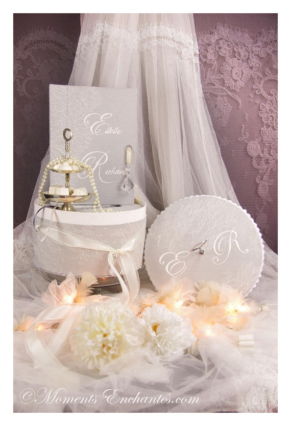 Wedding Guest book lace with hatboxe coordinate French lace cardboxe