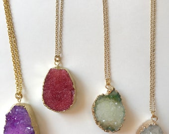 Druzy gold chain necklace