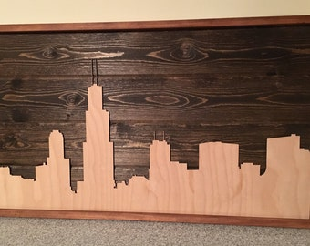 Wooden Chicago Skyline