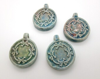 Celtic Lizard Pendant, Raku Ceramic Bead with Bail, 36mm Gecko Pendant