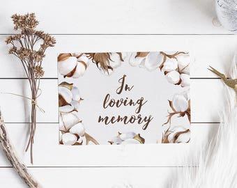 In Loving Memory Sign - Printable Wedding Sign - Rustic Wedding Decor