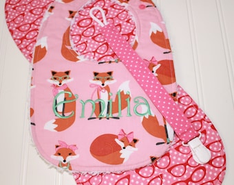 Baby Girl Gift Set - Personalized Bib - Pink Fabulous Foxes, foxes, glasses  - Bib, Burp Cloth, Pacifier Clip - Infant Gift Set, Shower Gift