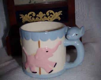Vintage Porcelain Baby Cup .  Circus Animal Cup . Animal Planter. Baby Shower Decor. Kids Room Decor. Elephant Piggy Ponny Decor. Child Vase