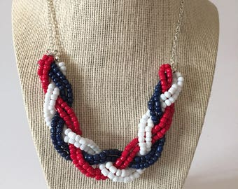 Red White Blue Beaded Braid Necklace