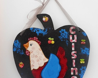 "Door plate - decoration for the kitchen - decoration ""hen"" - wooden apple - wall decoration"