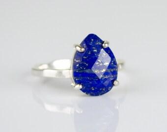 Lapis Lazuli Ring, September Birthstone Ring, Gemstone Ring, Stacking Ring, Gold Ring, prong set ring, Tear drop Ring, Lapis Lazuli jewelry