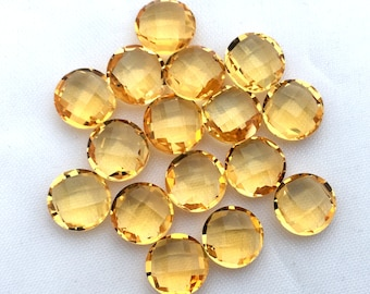 Citrine Faceted Round Briolette 8MM, 10MM/ Briolette Drops/ Medium-Golden Colour/ November Birthstone, For fine Jewelry, Price By Per Piece