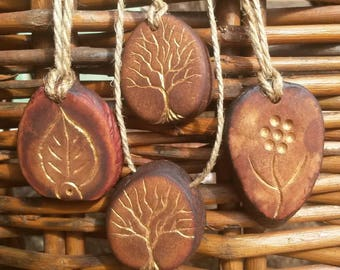 Tree of life , golden leave and flower / Avocado seed necklace , avocado pit pendant , seed carving / natural jewelry , handcraft