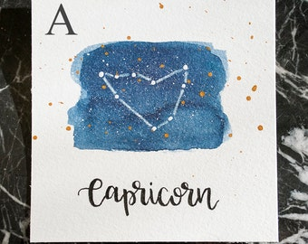 Capricorn Constellation Painting - Galaxy, Night Sky, Stars, Original Watercolor