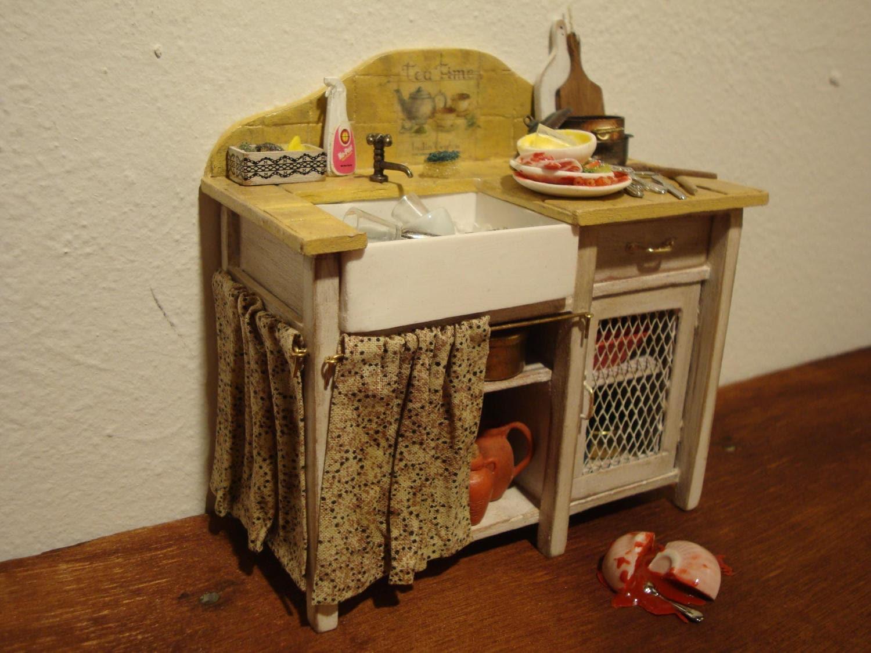 Miniatur Puppenhaus toskanischen Stil Küchenspüle