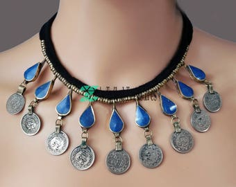 Blue enamel gems and coin necklace,Afghan necklace,Kuchi necklace,Blue necklace,Afghan jewelry,Gypsy necklace,Choker,Necklace for her