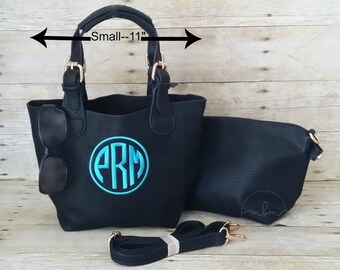 Monogrammed Small Black Crossbody - Monogram Purse - Personalized Handbag - Monogram Cross body - Personalized Bag-Gift For Her-2 in 1