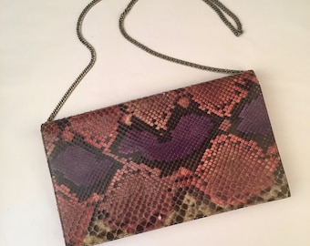 purple python snakeskin shoulder bag converts to clutch exotic colorful leather 70s to 80s vintage gold chain strap purse