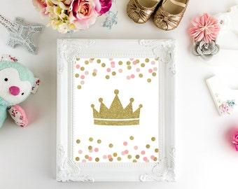 Baby shower, Baby girl print, Baby shower decor, Gold pink, Digital art, Printable art, Digital poster Instant Download 8x10, 16x20