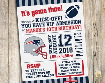 New England Patriots Football Birthday Party Invitation / DIY Printable Download
