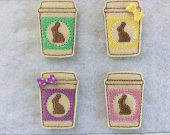 Bunny To Go Cup,  Easter Feltie,  4 Colors  you Choose , Always Precut