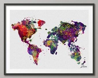 Watercolor World map watercolor poster watercolor art  watercolor map world map deocr print poster map decor watercolor world map A107-2
