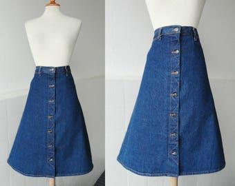 70s Blue Denim Vintage Skirt // Donald //  Cotton // Size 46