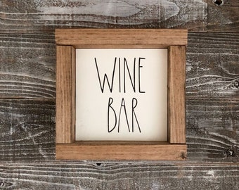 Wine Bar Rae Dunn wood sign