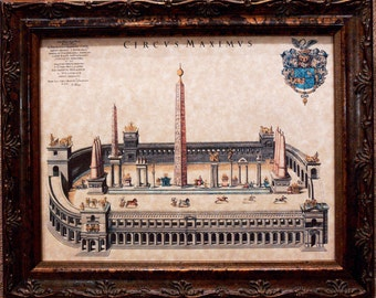 Roman Circus Maximus Art Print from 1649 on Parchment Paper