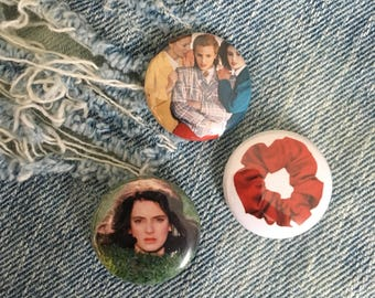 Heathers pin, Veronica, Heathers, Red Scrunchie, Heathers Movie one inch pin back buttons, Heathers Pins,