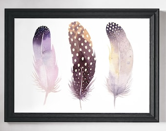 Feather Print, Feather Art, Wall Art Prints, Watercolour Print, Feathers, Wall Art, Minimalist Print, Minimalist Art, Minimalist, Prints