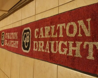 Carlton Draught full length bar runner,Man Cave collectors item, a genuine Aussie beer bar mat, FREE postage WORLDWIDE!!