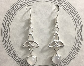 Celtic Sterling Trinity Knot Earrings with 8mm Moonstone Cabochons, Handmade Dangle Drop Earrings with Gems, Charmed Knot Trinity Jewelry