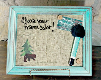 Complete Set, Desktop Dry Erase, Table Top Magnetic Board, Dry Erase Board, Message Board, Rustic Decor, Cabin Bear Decor, Coworker Gift