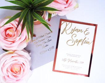 Rose Gold Foil Metallic Wedding Invitation. Custom Copper Shimmer Invite. Modern, Minimal, Sophisticated Stationery with Matching Envelope.