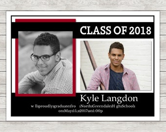 Graduation Announcement Invitation (Available In Any Color) - Digital File (Printing Services Available)