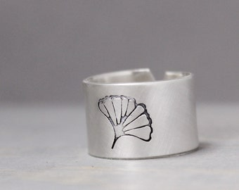 Silver Palm Ring, Silver Ring, Sterling Silver Ring,  Personalized Ring, Hand Stamped Ring, Personalized Jewelry