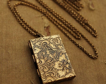 Secret Message Book Locket - Gold Book Locket Necklace