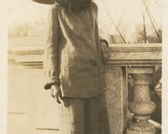 vintage photo 1920 Arms Up Flapper Teen Dressed as Gypsy Posed on Sidewalk