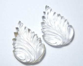 2 Pieces Extremely Beautiful Natural Rock Crystal Quartz Carved Leaves Size  38X25 MM
