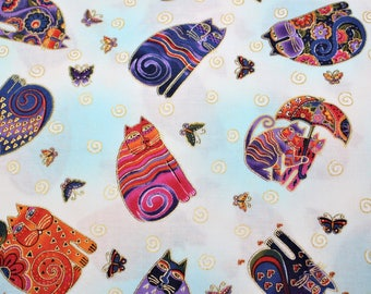 Laurel Burch Rare Oop FABULOUS FELINES Tossed Cats Fabric - BTHY