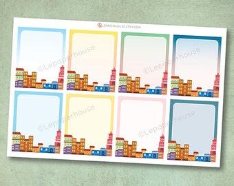 City Skyline volle Box Aufkleber, Matt oder glänzend Planer Aufkleber, Leben Planer Aufkleber, Erin Condren Filofax, Mambi glücklich planner