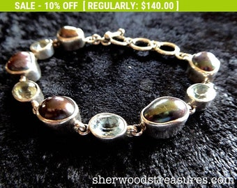 """STARBORN STERLING   Bracelet  8""""  Beautiful Design Pearls and Topaz"""