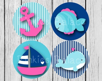 Nautical Stickers Envelope Seals Anchor Fish Whale Sailboat Scrapbook Stickers Calendar Stickers