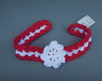 Festive Red and White Flower Headband for Baby