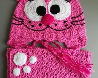 Funny Cat Set Crocheted Hat Crochet scarf Kitty Hat Newborn Photo Prop
