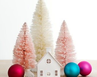 Putz House DIY Ornament Kit Bungalow Glitter House Christmas Decoration  Paper Craft Kit Christmas Mantle Decor